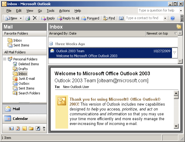 Bottom Layout in Outlook 2003