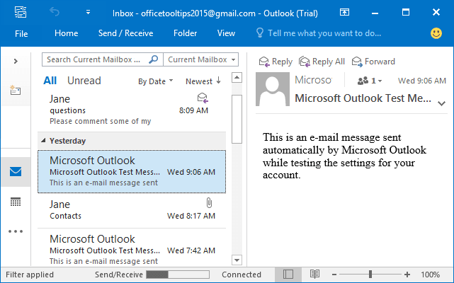 Right Layout in Outlook 2016