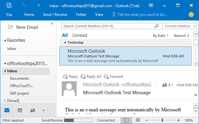 Bottom Layout in Outlook 2016