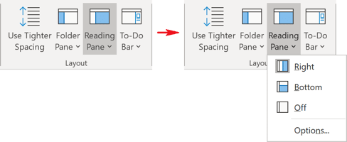 Layout in Outlook 365