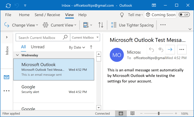 Right Layout in Outlook 365