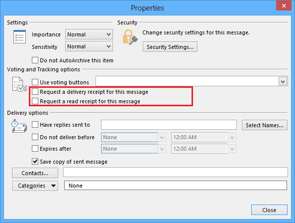 Message Options in Outlook 2013