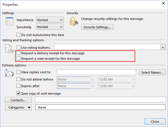 Message Options in Outlook 2016