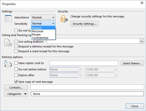 Message Settings - Microsoft Outlook 2016
