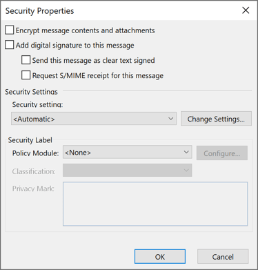 Security Properties in Outlook 365