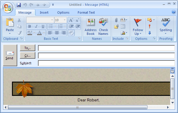 New Message in Outlook 2007