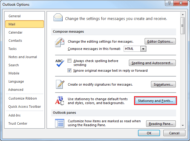 Options dialogbox in Outlook 2010