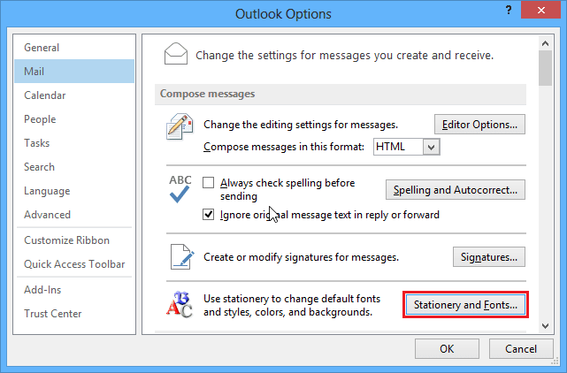 Options dialogbox in Outlook 2013