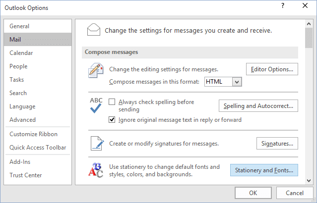 Options dialogbox in Outlook 2016