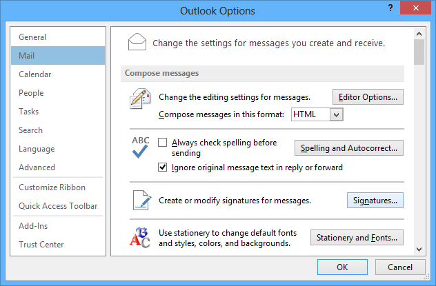 Outlook 2013 Mail Options