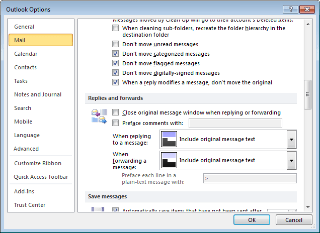 Outlook 2010 Mail Options