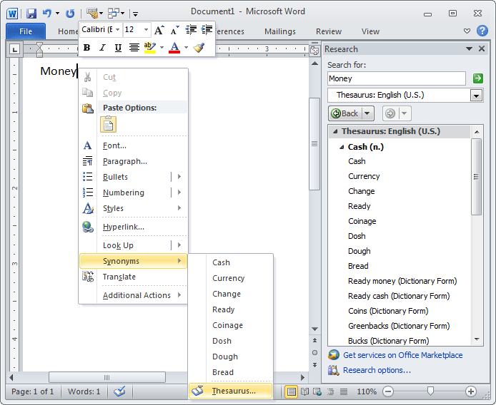 Synonyms in Word 2010