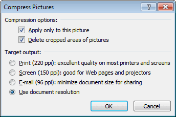 Compress picture in Word 2010