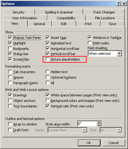 Options in Word 2003