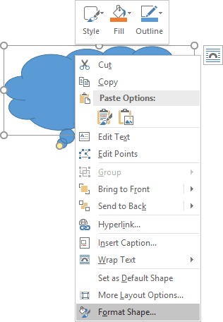 popup in Word 2016