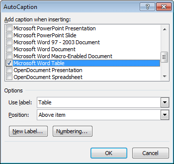 AutoCaption objects in Word 2010