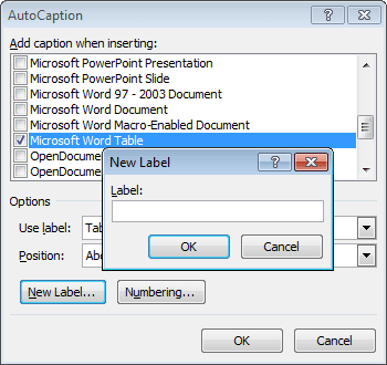 New Caption Label in Word 2010