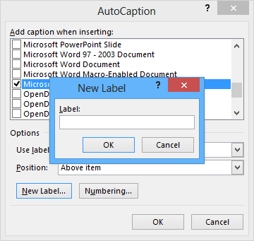 New Caption Label in Word 2013