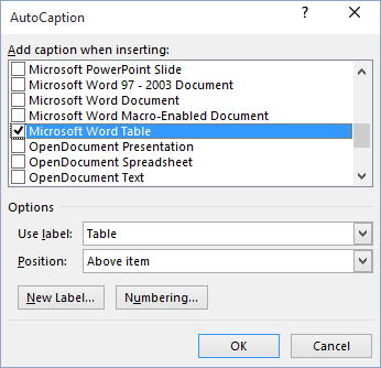 AutoCaption objects in Word 2016