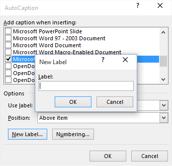 New Caption Label in Word 2016