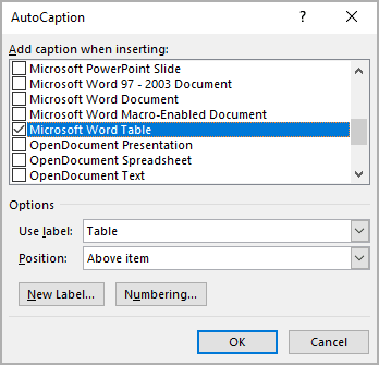 AutoCaption objects in Word 365