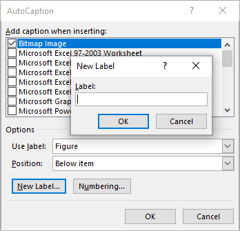 New Caption Label in Word 365