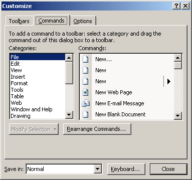 Customize in Word 2003