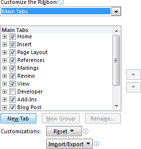 New Tab in Word 2010