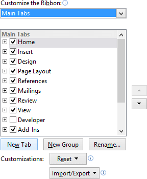 New Tab in Word 2013