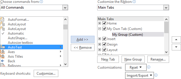 Add command in the group in Word 2016