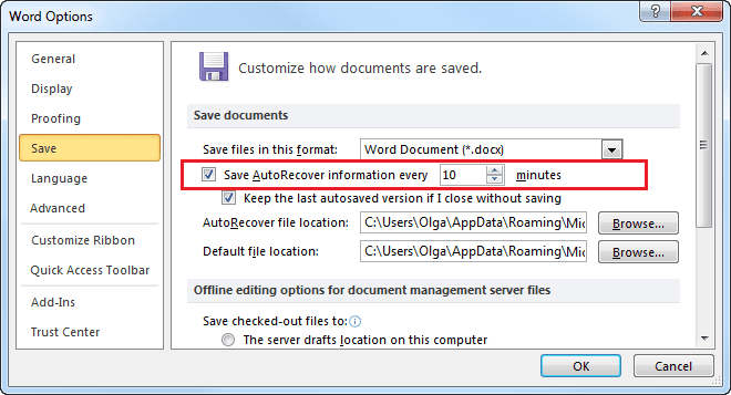 Save AutoRecover Word 2010