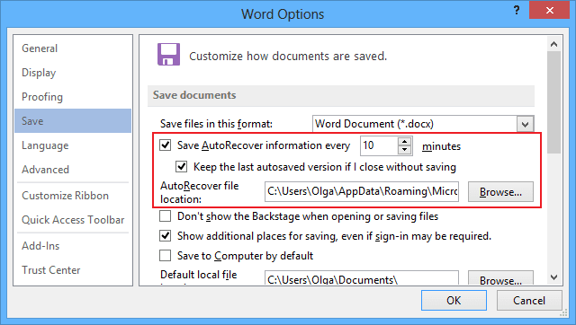Save AutoRecover Word 2013