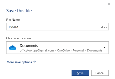 Save this file dialog box in Word 365