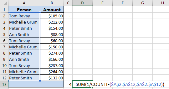 Counting the number of unique values in Excel 365