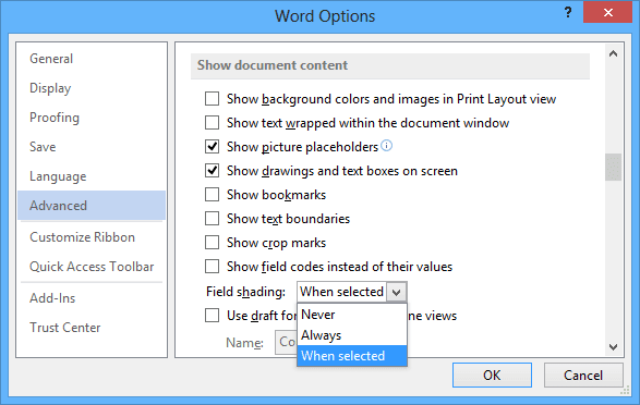 Options Advanced in Word 2013