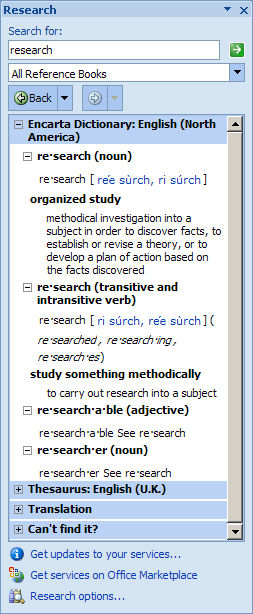 Research pane in Office 2007