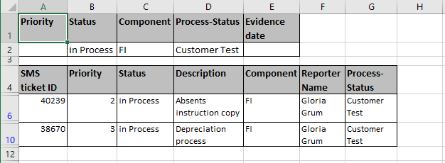 Criteria Result in Excel 2016