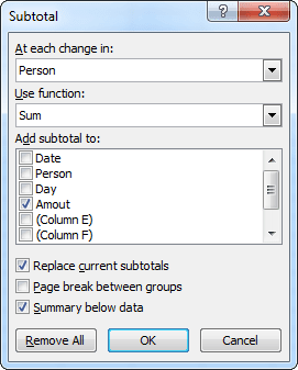 Subtotal in Excel 2010