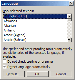 Set Proofing Language Word 2003