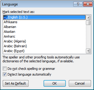Language in Word 2010