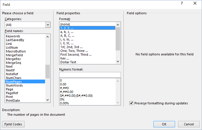 Field dialogbox in Word 2016