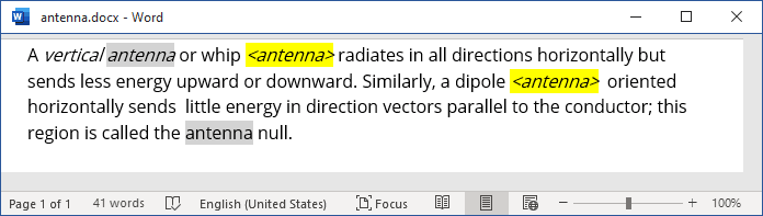 The placeholder text in Word 365