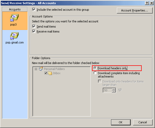 Send/Receive Settings in Outlook 2007