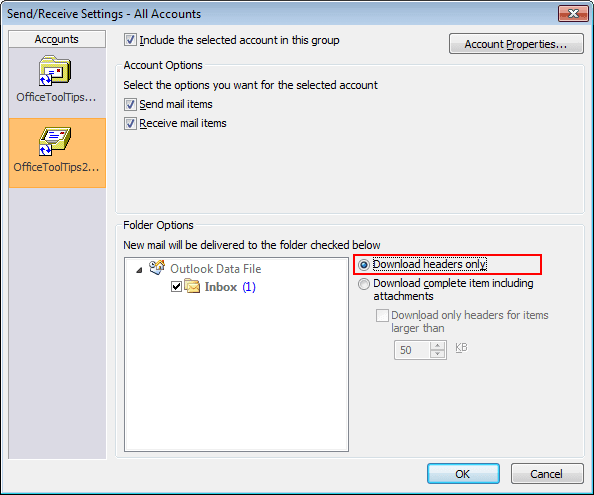 Send/Receive Settings in Outlook 2010