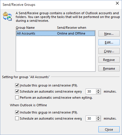 Send/Receive Groups in Outlook 2016