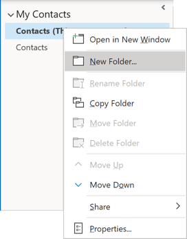 New Folder in Outlook 365