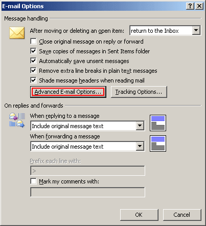 E-mail Options in Outlook 2007