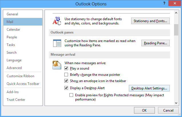 Mail Options in Outlook 2007