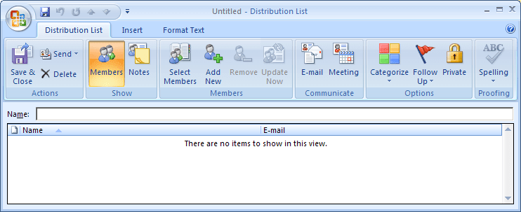 Distribution List in Outlook 2007