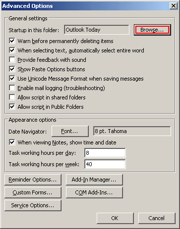Advanced Options Outlook 2003
